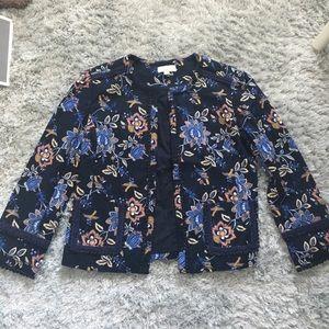 NWOT Loft floral embroidered jacket